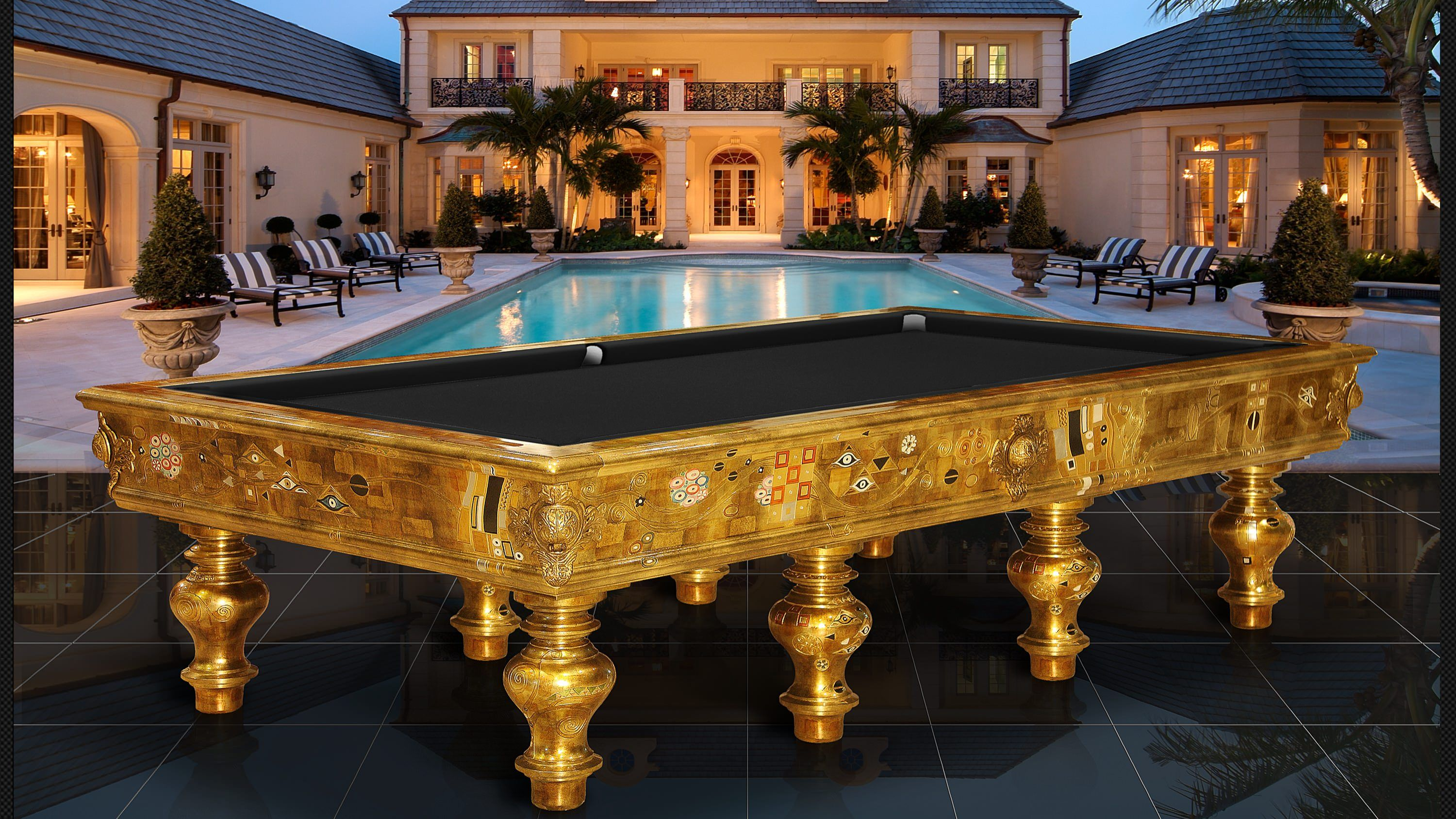 Billiard Klimt Gold Leaf Pool Table Biliardi Cavicchi - Pool table scorekeeper