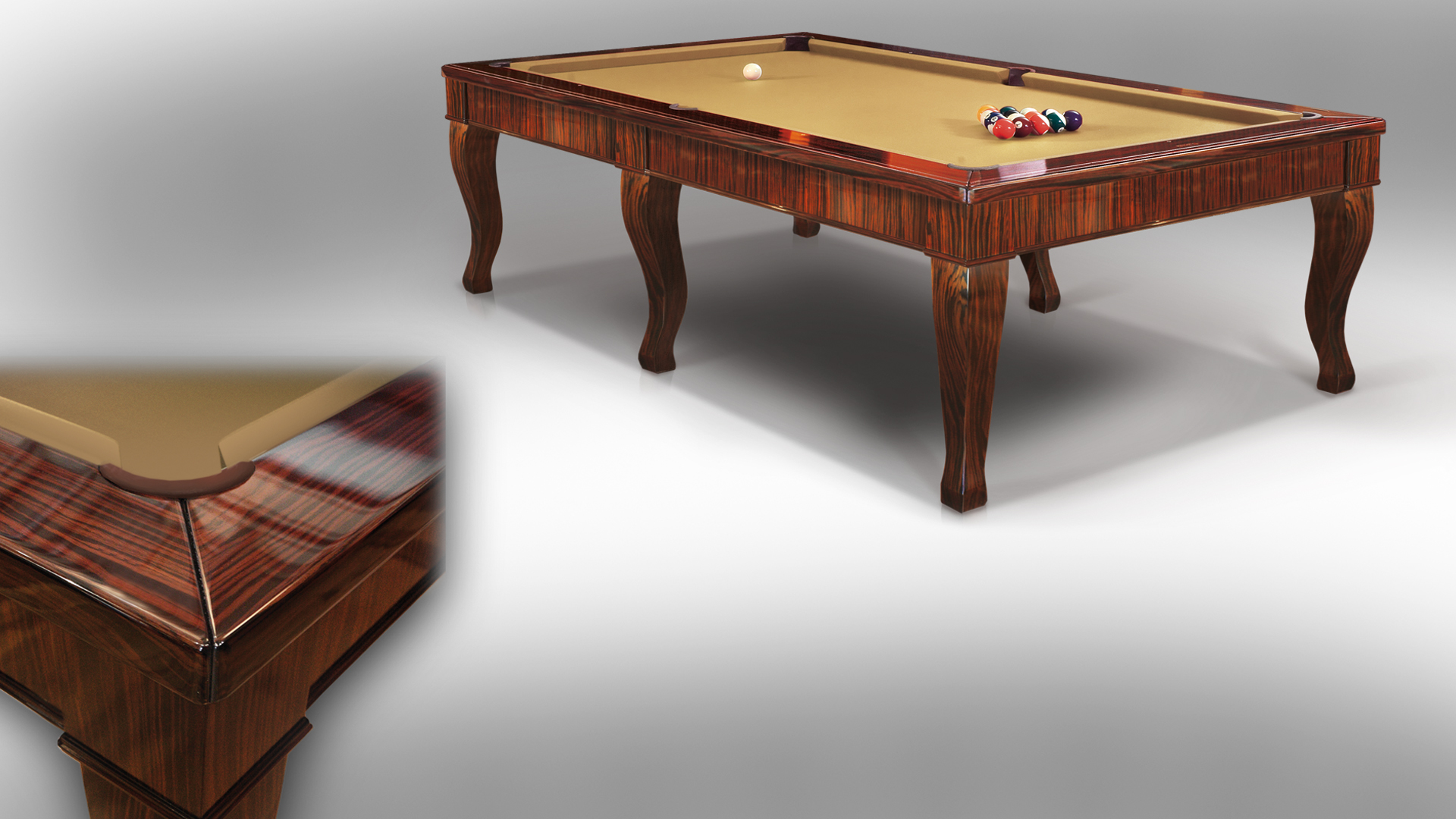 Canossa Ebony billiard Pool Table 6 bases 3
