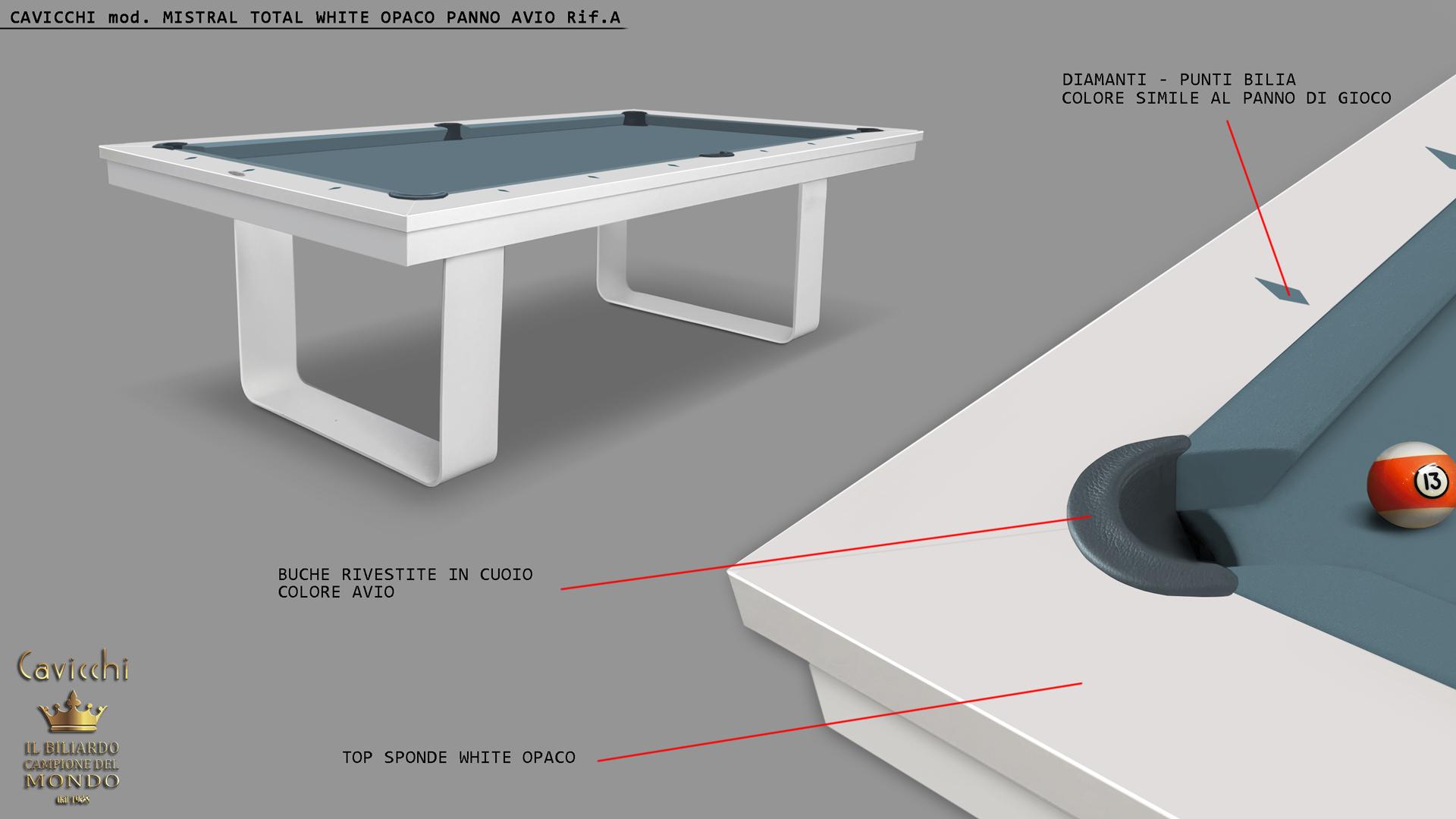 Бильярдный стол Cavicchi MISTRAL WHITE 3