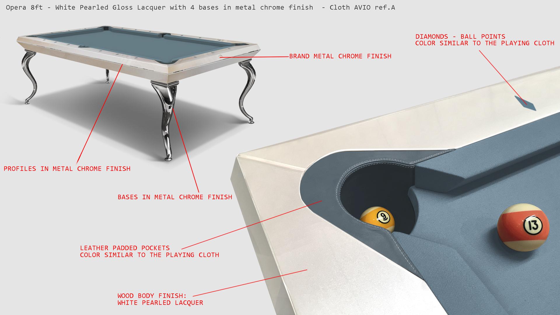 Opera billiard table White Pearled - Showroom Shop 4