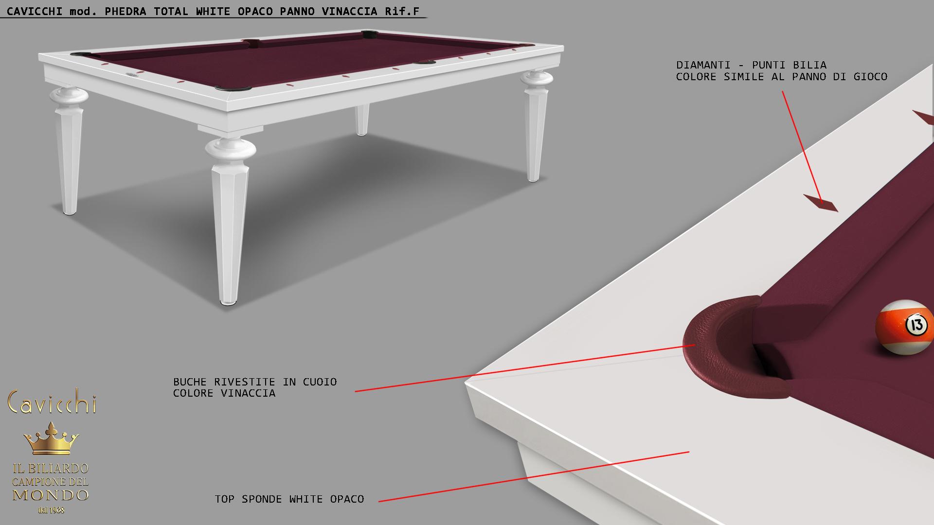 Бильярдный стол Cavicchi PHEDRA WHITE 3