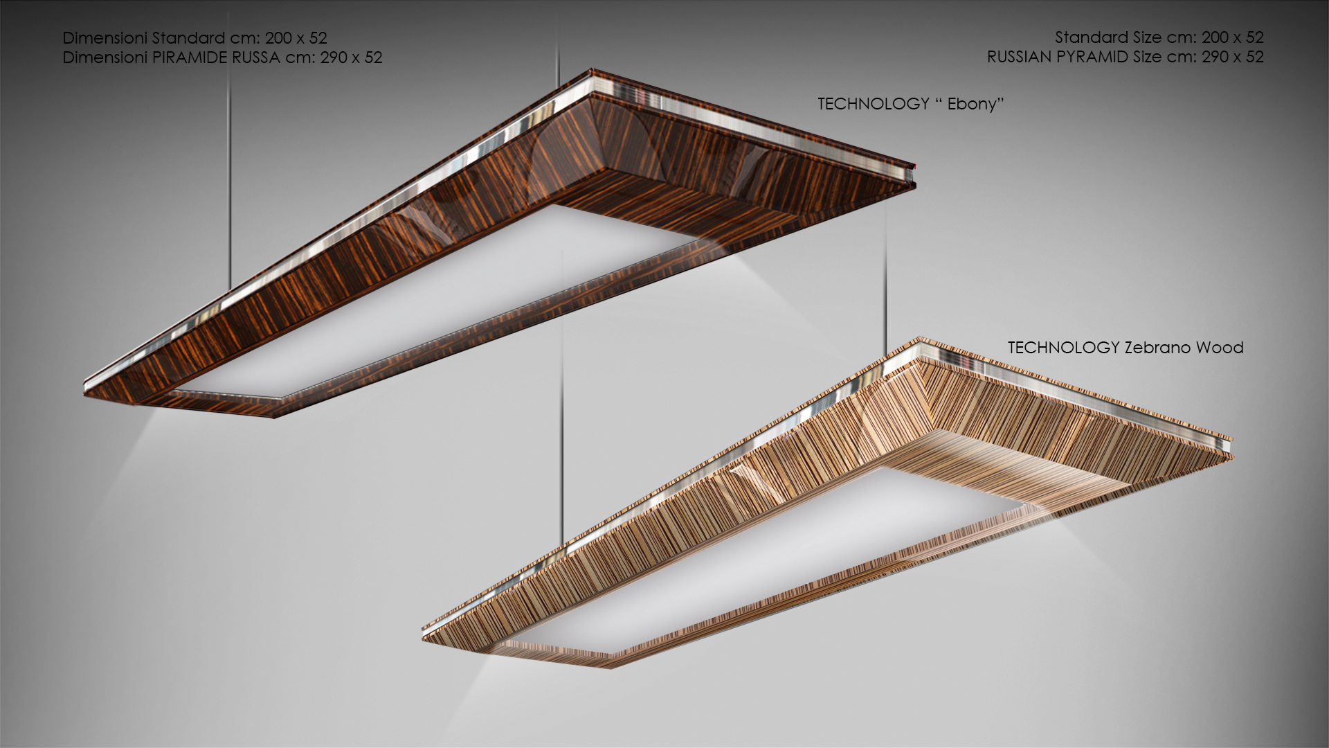 Tecnology chandelier lacquered and precious wood 2