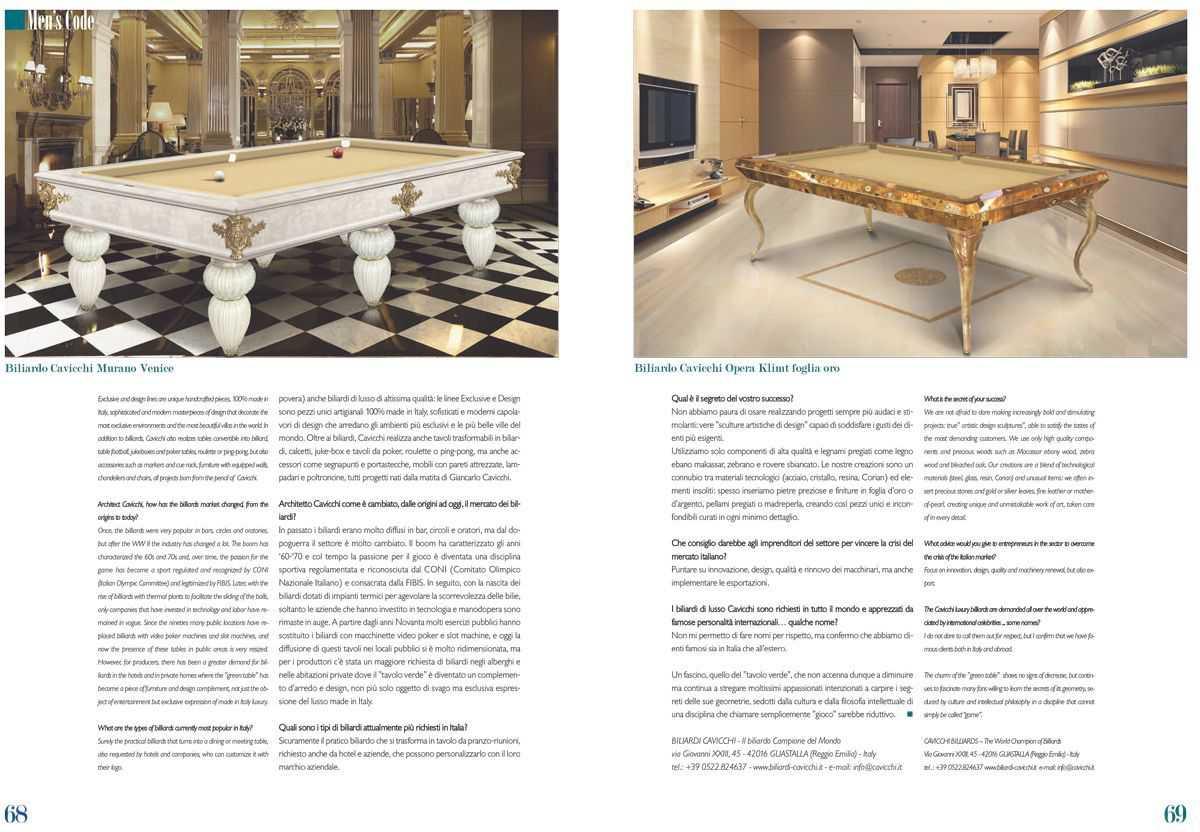 Cavicchi il Fascino del Biliardo, Su LiveIn Style rivista di Lusso Internazionale