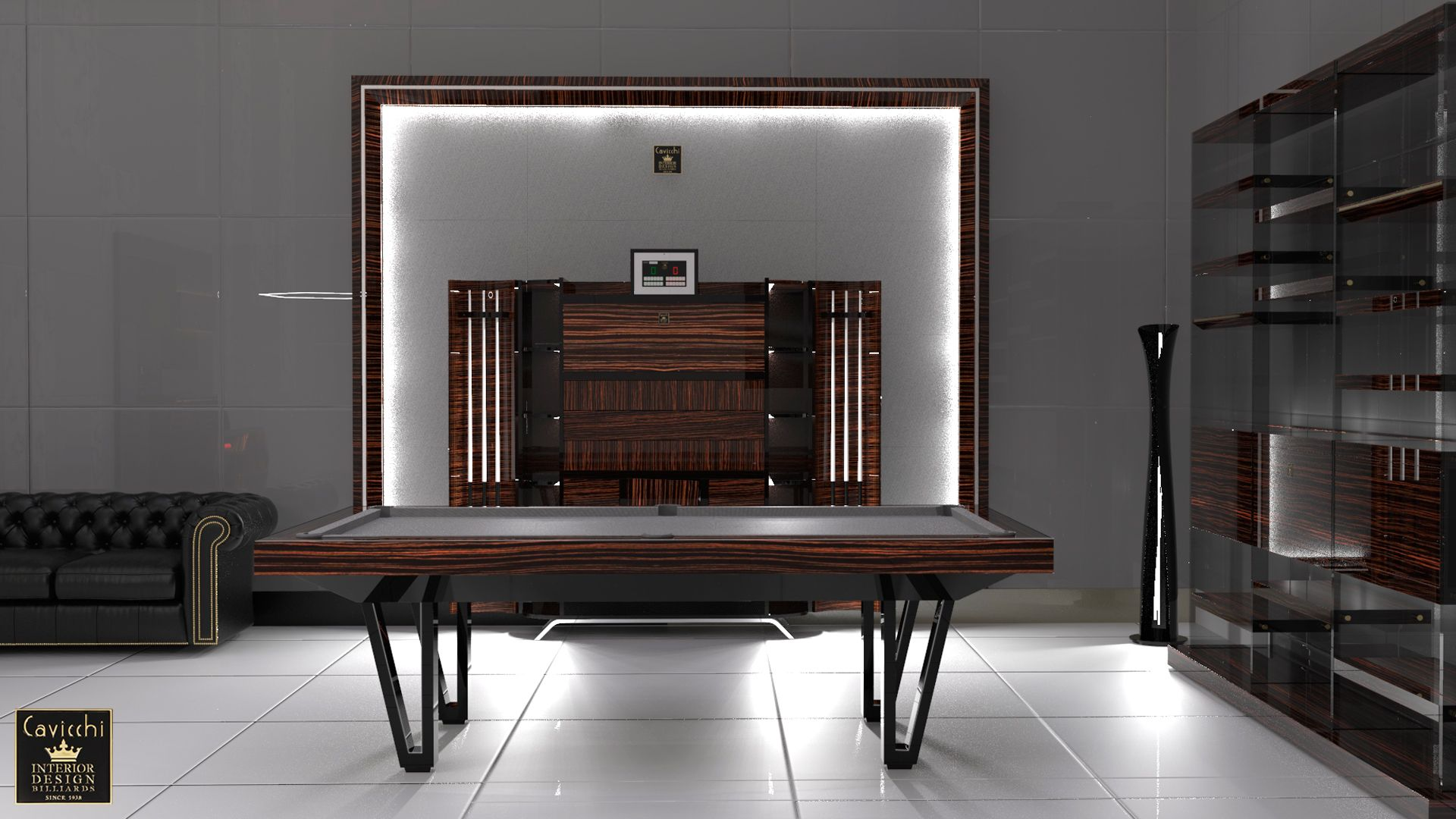 Pool Table Cayenne Two Bicolor Ebony Makassar Wood - Showroom Shop 2