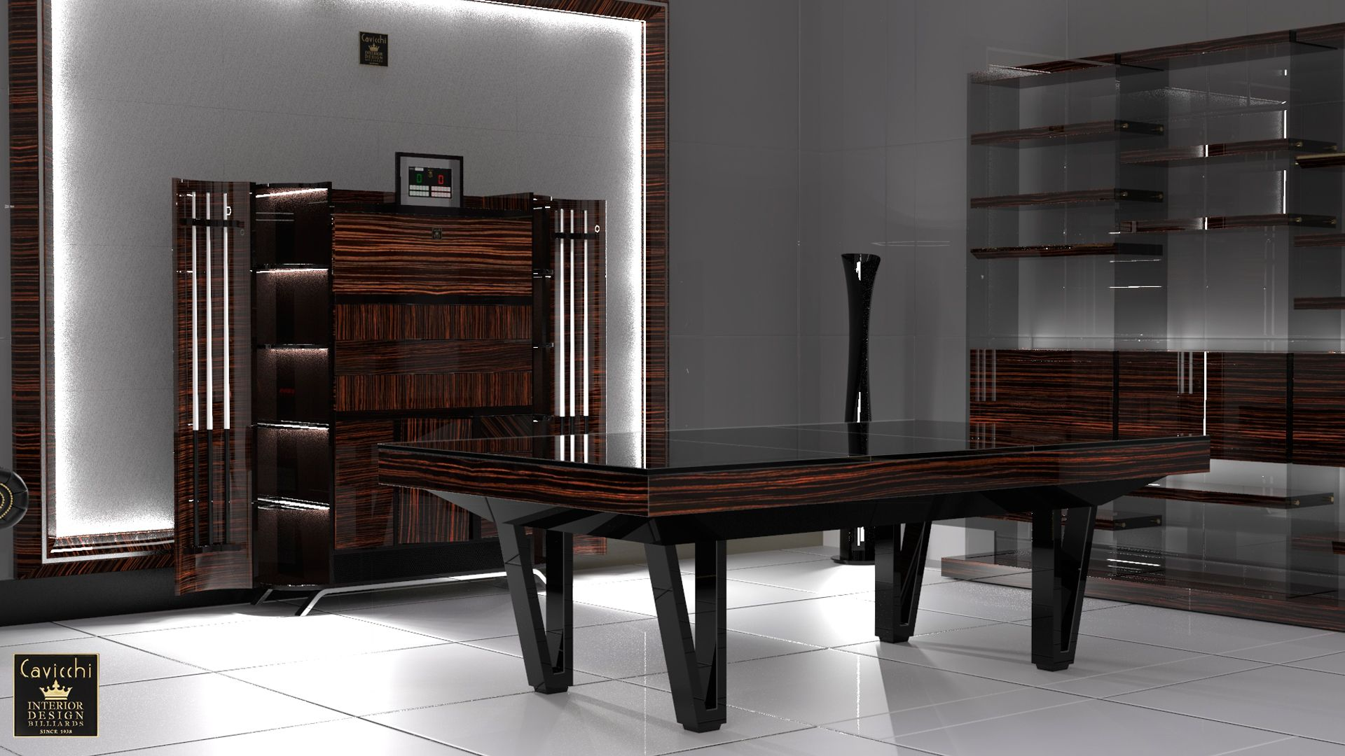 Pool Table Cayenne Two Bicolor Ebony Makassar Wood - Showroom Shop 5