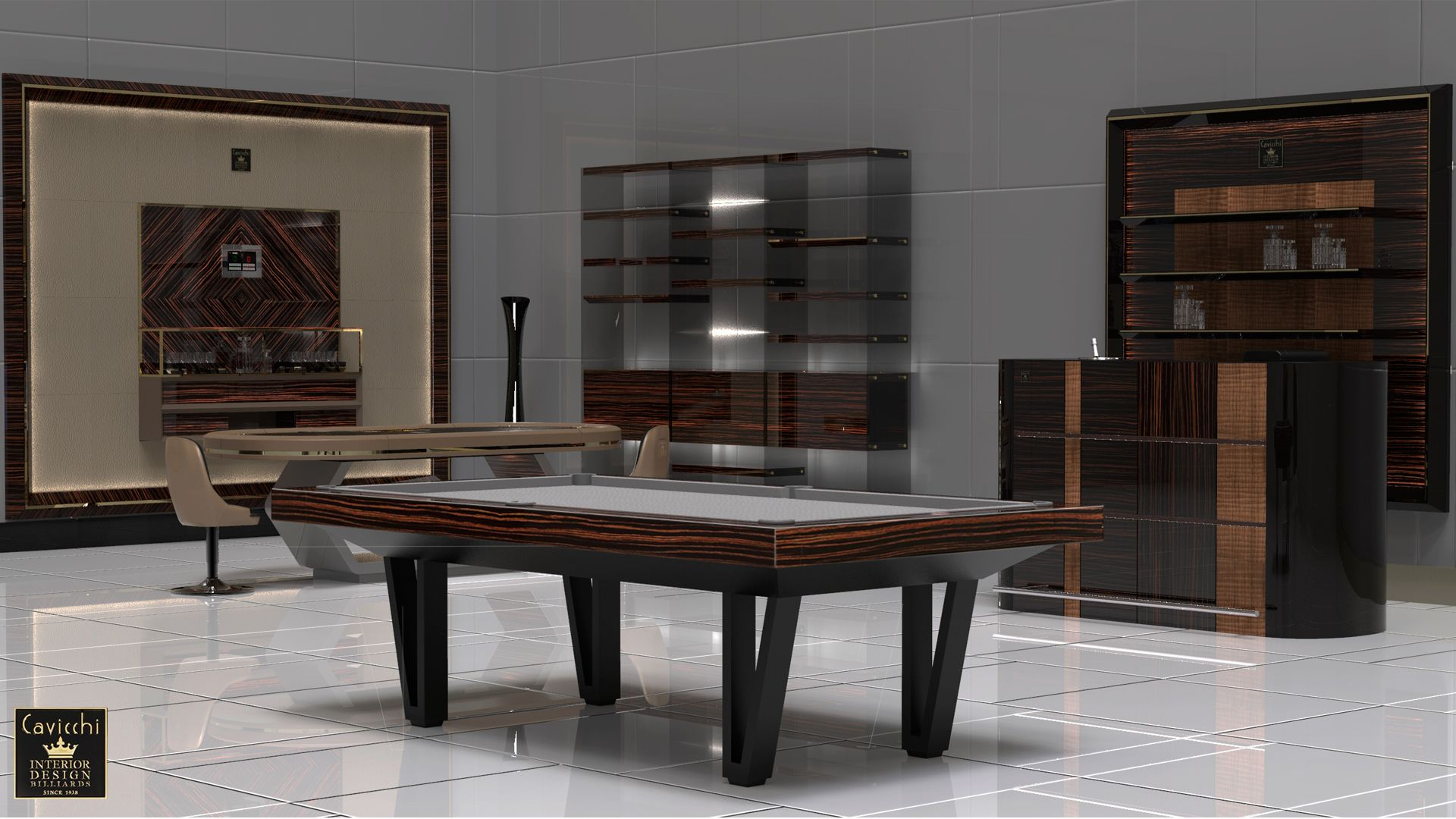 Pool Table Cayenne Two Bicolor Ebony Makassar Wood - Showroom Shop 1