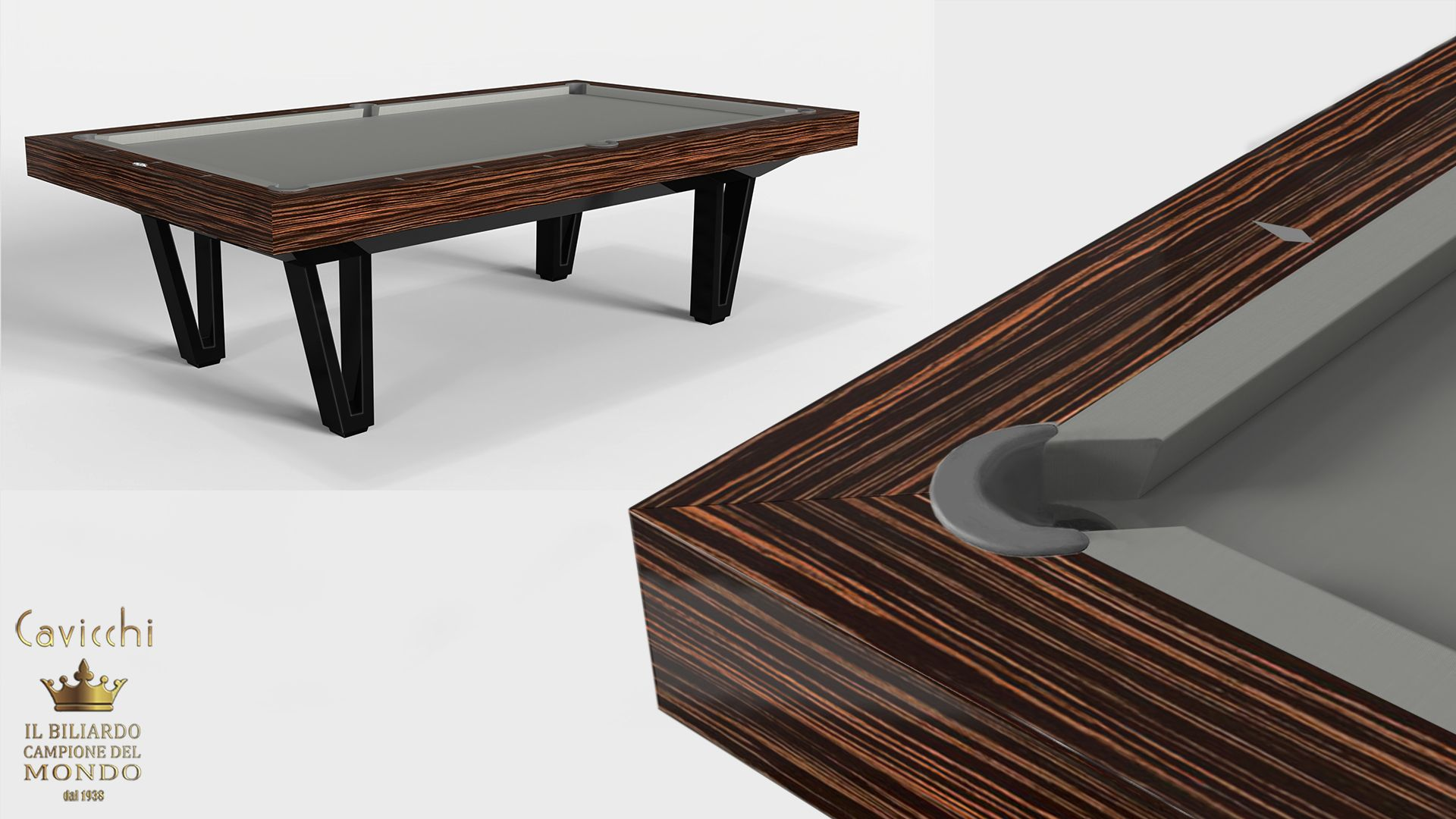 Pool Table Cayenne Two Bicolor Ebony Makassar Wood - Showroom Shop 7