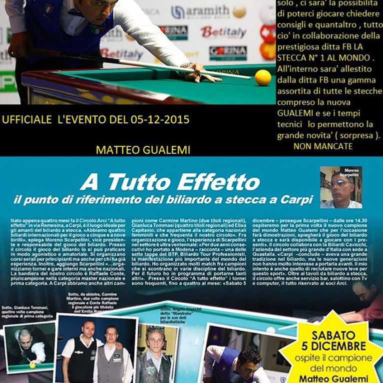 "The 5 of December, the World Champion Billiard Matteo Gualemi will perform in the billiard Room ""A TUTTO EFFETTO"""