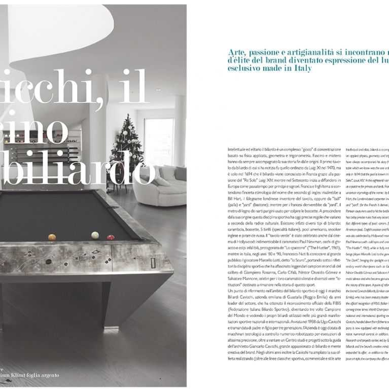 Cavicchi the billiard Charm, on LiveIn Style Magazine of International Luxury