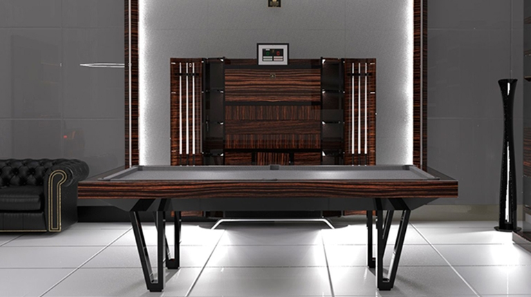 Pool Table Cayenne Two Bicolor Ebony Makassar Wood - Showroom Shop