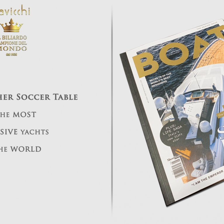 The Cavicchi Opera Soccer table in the most Exclusive Yachts in the World