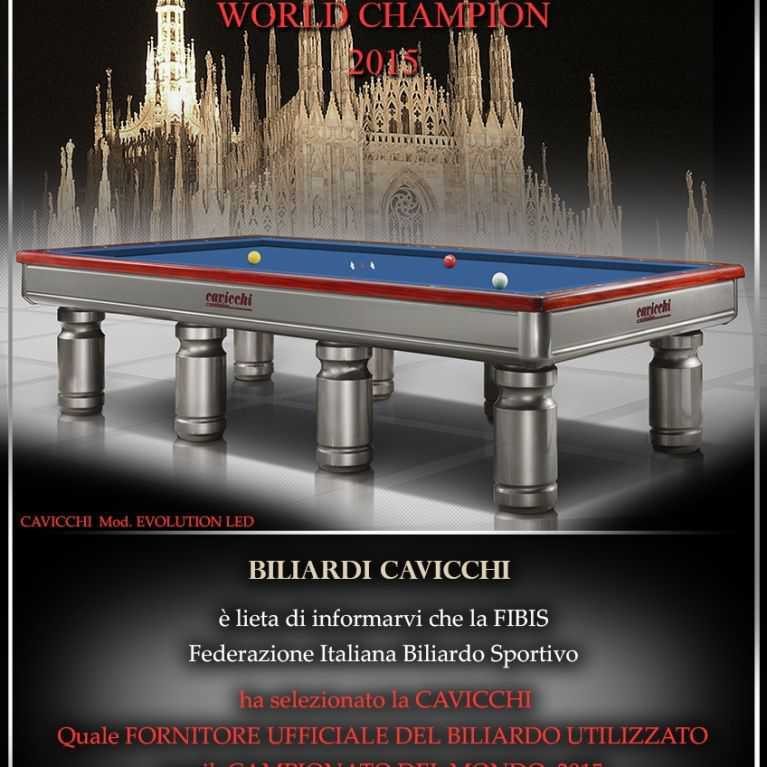 CAVICCHI billiards Official billiards of the World Tournament 2015