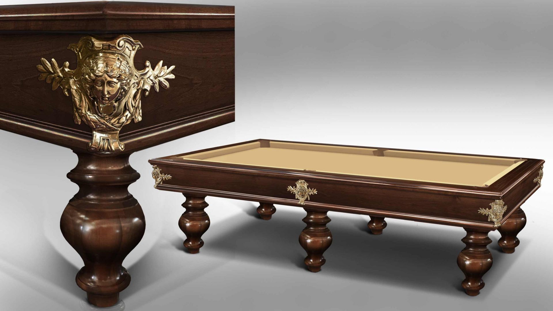 Virgilio Blond/Dark Moka Walnut Billiard Pool Table 7