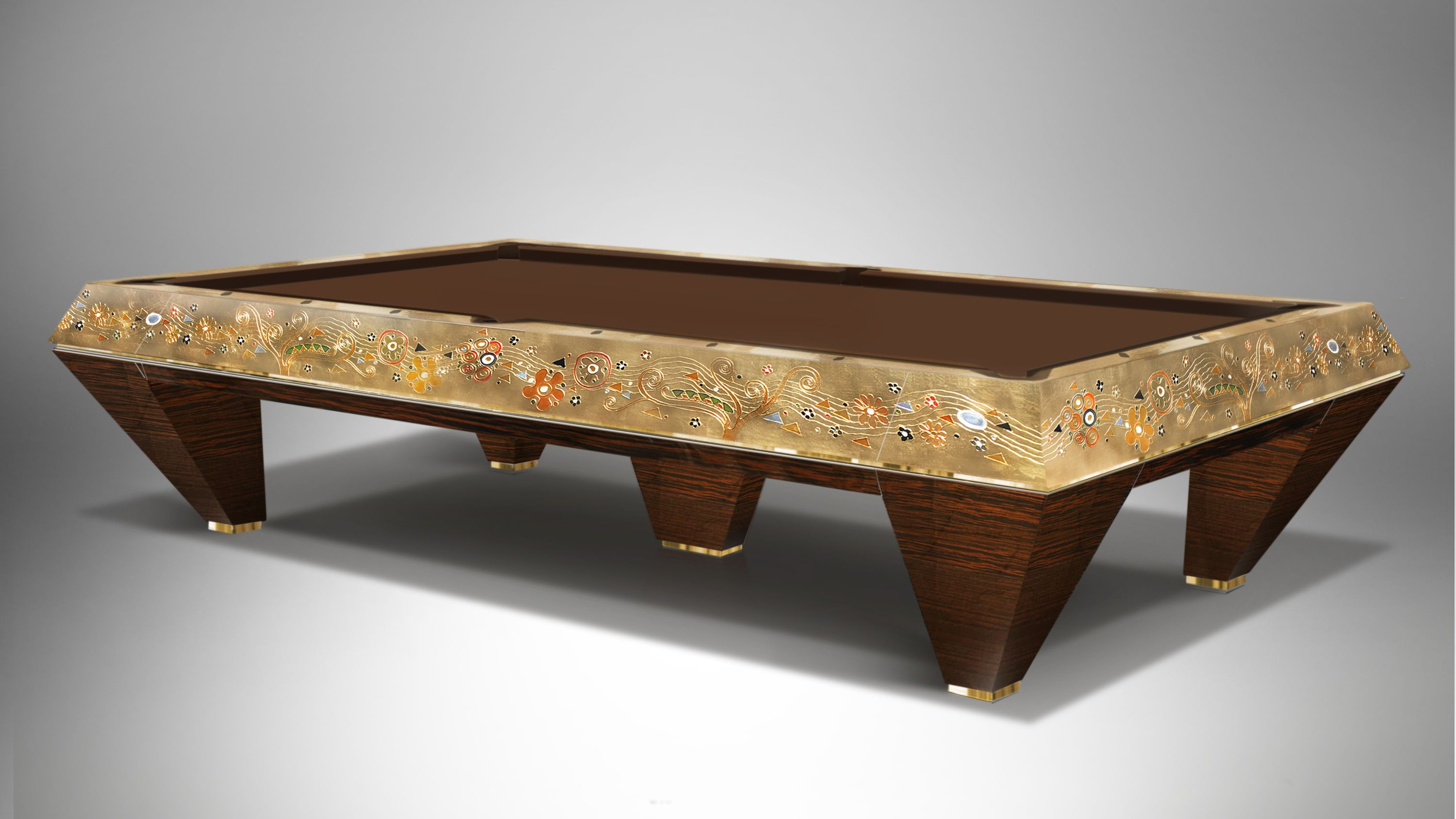 Millenium 5 bases Klimt Gold Leaf Billiard Pool Table 3
