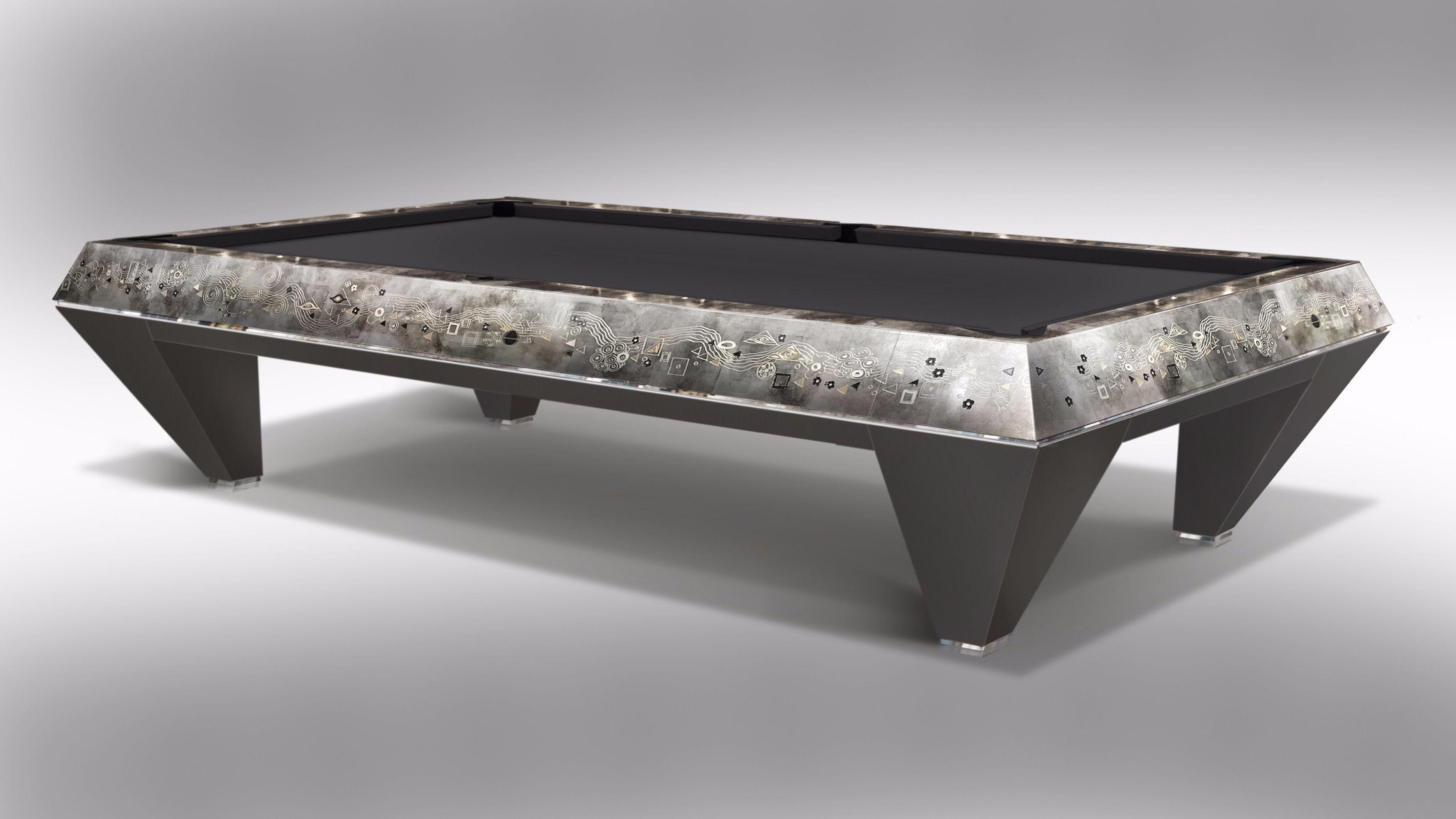 Millenium Klimt Silver Leaf Billiard Pool Table 2