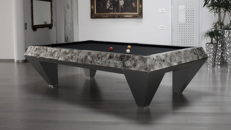 Millenium Klimt Silver Leaf Billiard Pool Table 3