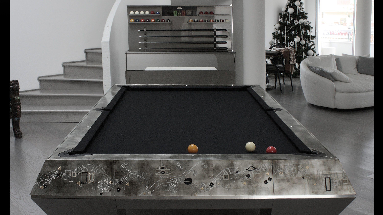 Millenium 5 bases Klimt Silver Leaf Billiard Pool Table 5