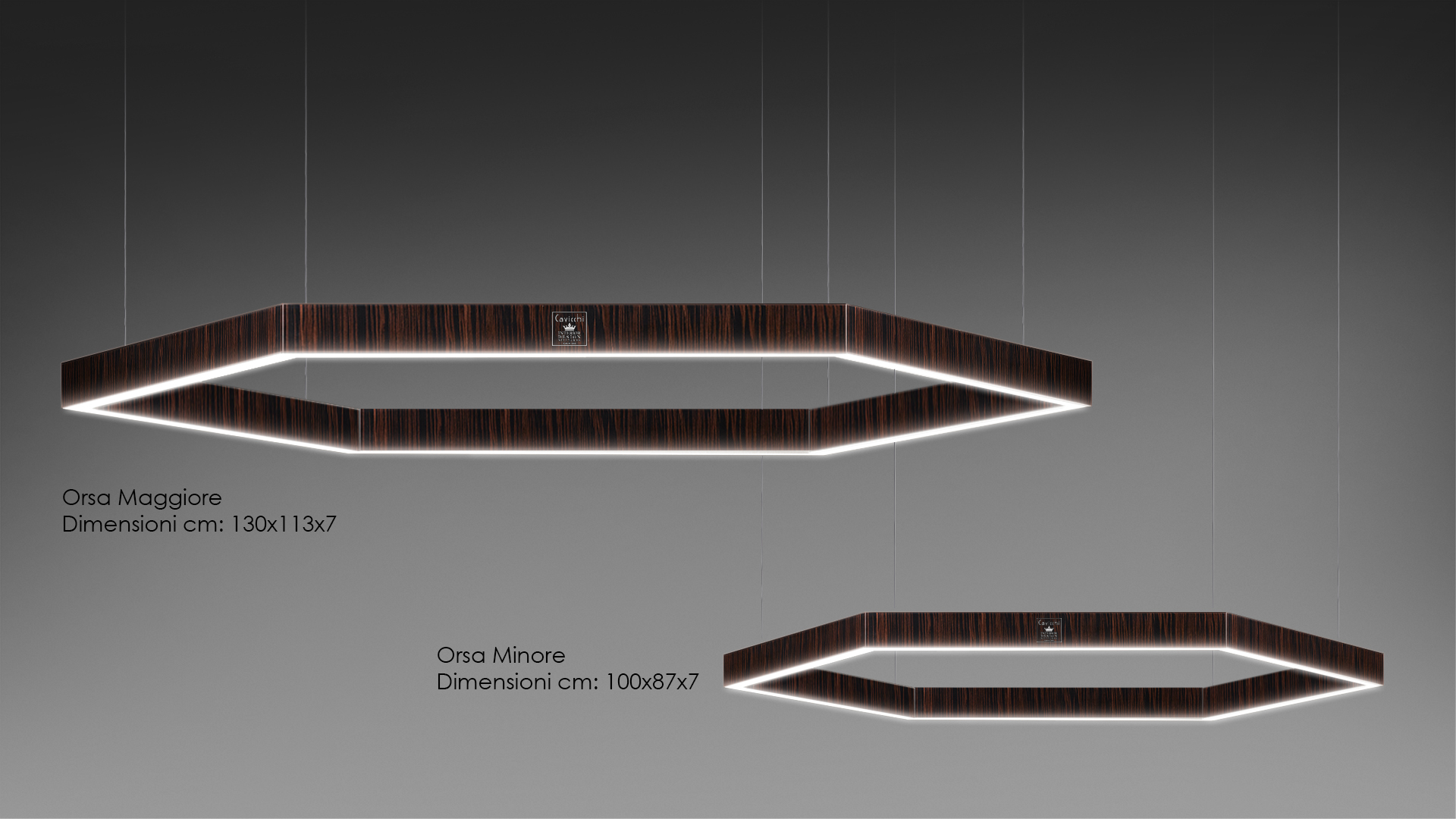 Orsa Maggiore - Orsa Minore Lamp lacquered and precious woods 2