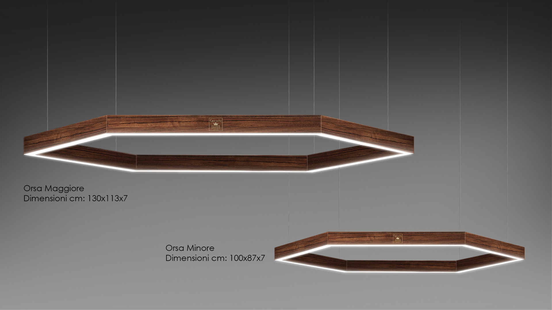 Orsa Maggiore - Orsa Minore Lamp lacquered and precious woods 1